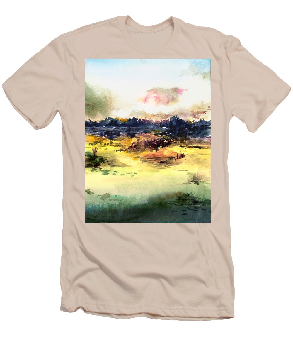 Landscape Water Color Sky Sunrise Water Watercolor Digital Mixed Media Men's T-Shirt (Athletic Fit) featuring the painting Sunrise by Anil Nene