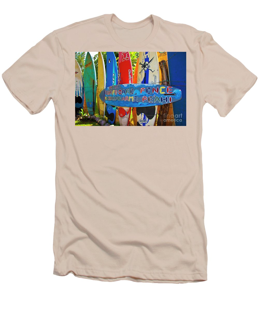 Surfboards Men's T-Shirt (Athletic Fit) featuring the photograph Surfboard Fence-the Amazing Race by Jim Cazel