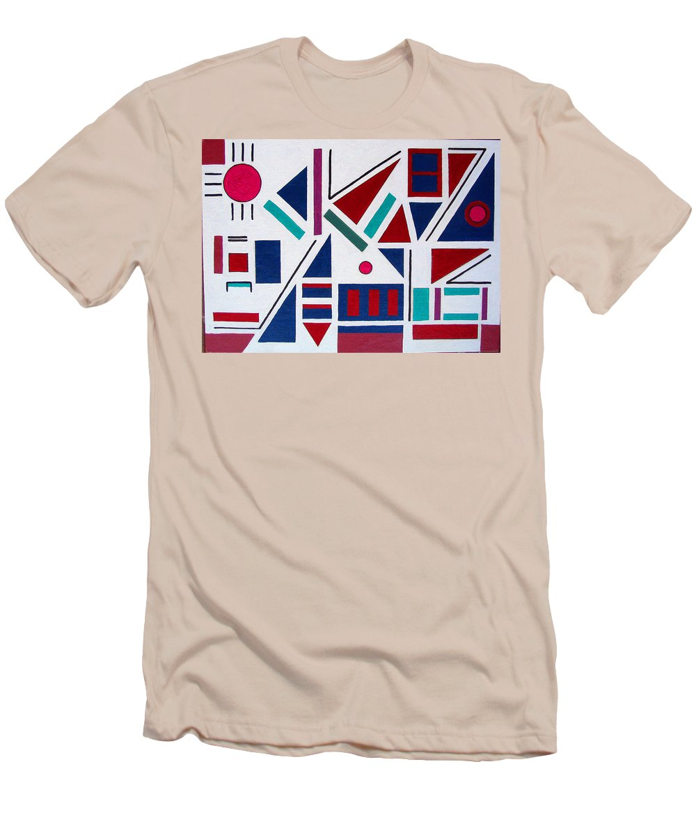 Abstract Men's T-Shirt (Athletic Fit) featuring the painting Symmetry In Blue Or Red by Marco Morales