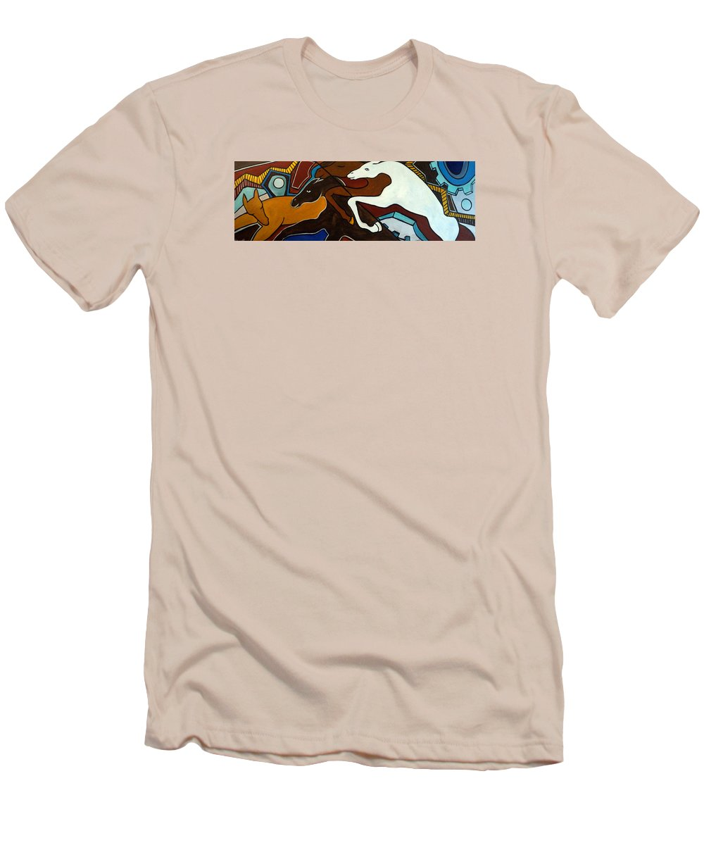 Horse Abstract Men's T-Shirt (Athletic Fit) featuring the painting Taffy Horses by Valerie Vescovi