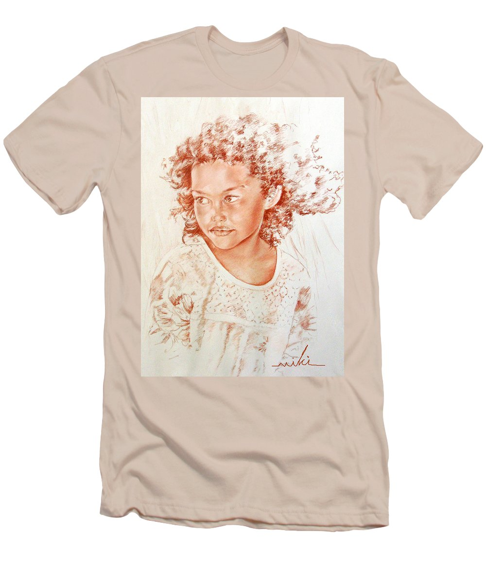 Drawing Persons Men's T-Shirt (Athletic Fit) featuring the painting Tahitian Girl by Miki De Goodaboom
