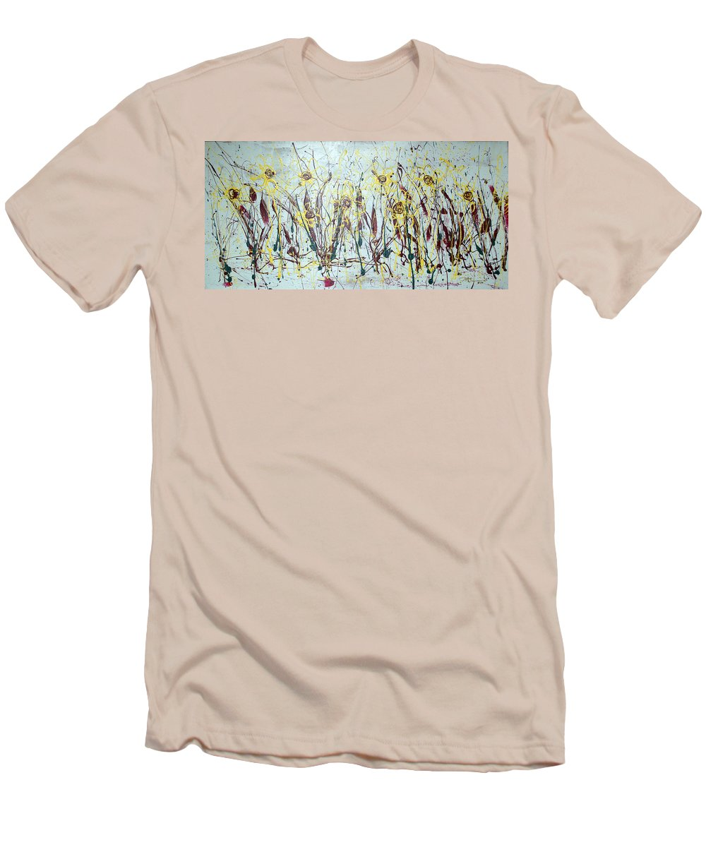 Flowers Men's T-Shirt (Athletic Fit) featuring the painting Tending My Garden by J R Seymour