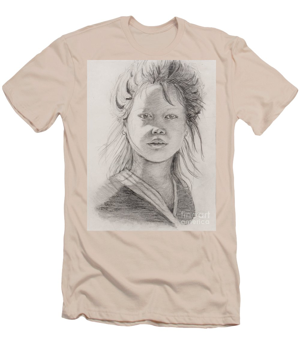 Portrait Men's T-Shirt (Athletic Fit) featuring the drawing Thai Beauty by Nadine Rippelmeyer