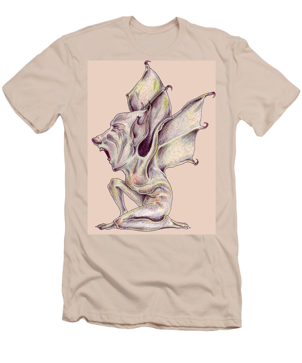 Bat Rat Man Drawings Color Pencil Men's T-Shirt (Athletic Fit) featuring the drawing That Bat Man Rat by Veronica Jackson