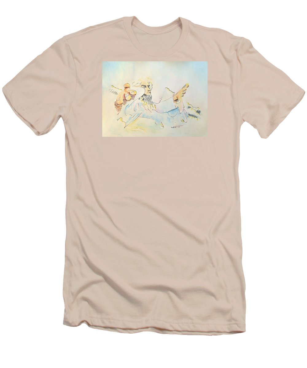 Music Men's T-Shirt (Athletic Fit) featuring the painting The Conductor by Dave Martsolf