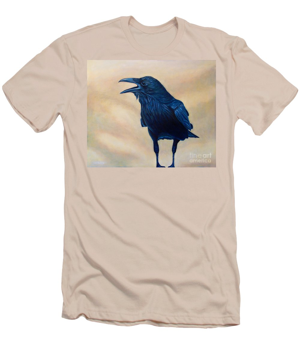 Raven Men's T-Shirt (Athletic Fit) featuring the painting The Conversation by Brian Commerford