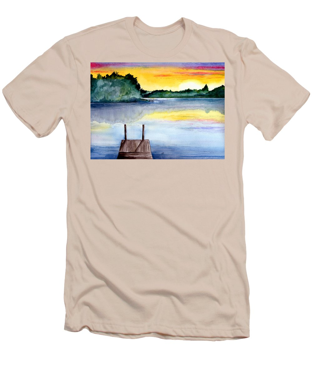 Watercolor Men's T-Shirt (Athletic Fit) featuring the painting The Dock by Brenda Owen