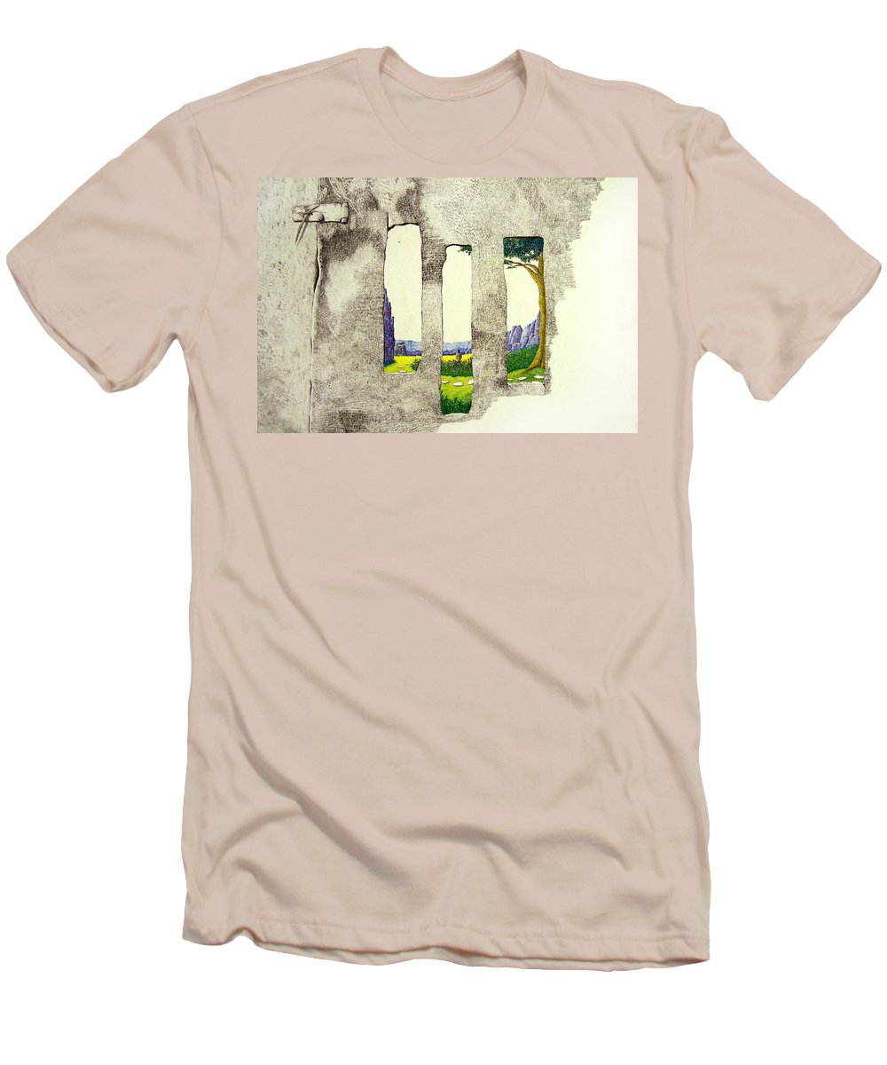 Imaginary Landscape. Men's T-Shirt (Athletic Fit) featuring the painting The Garden by A Robert Malcom