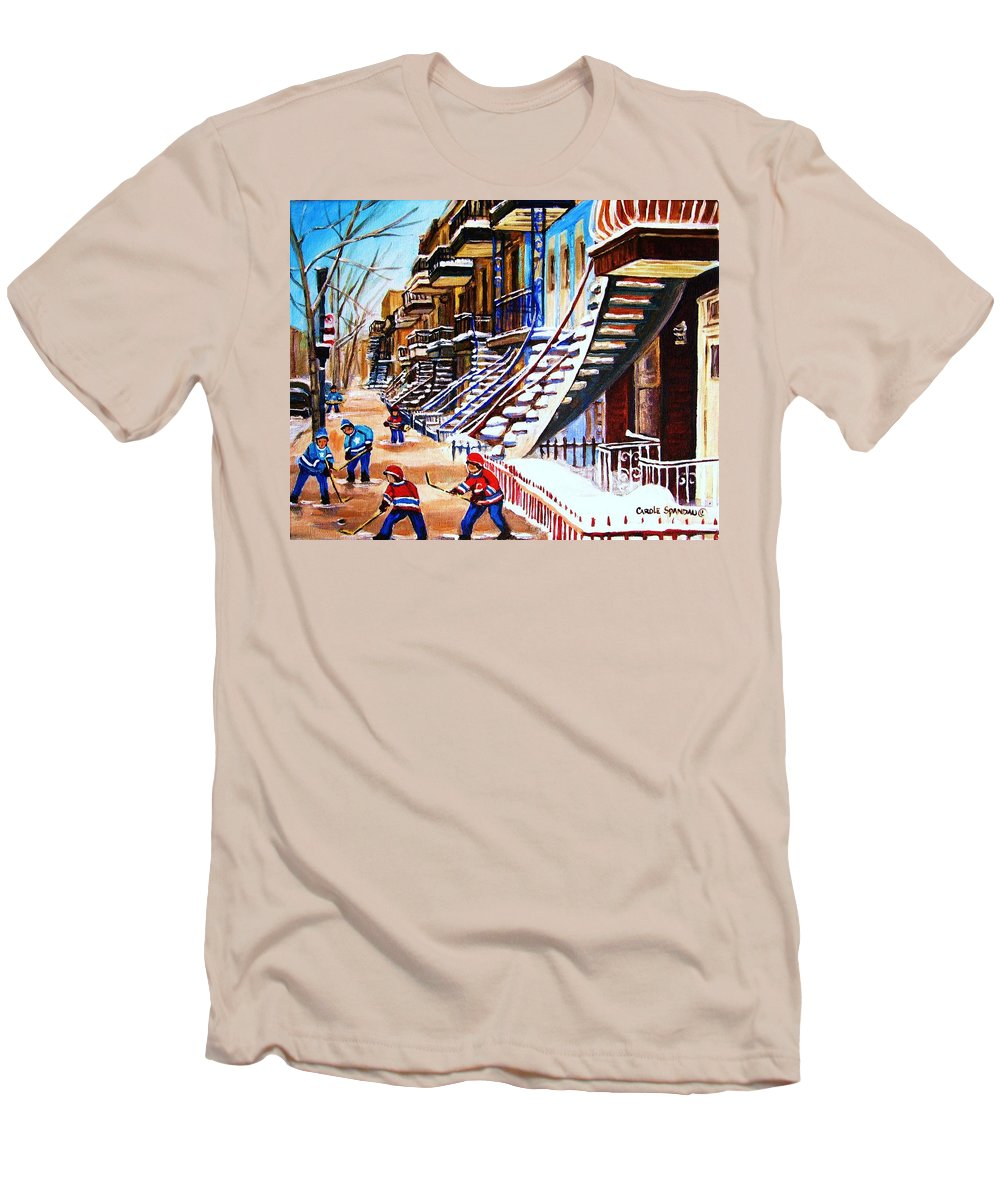 Hockey Men's T-Shirt (Athletic Fit) featuring the painting The Gray Staircase by Carole Spandau