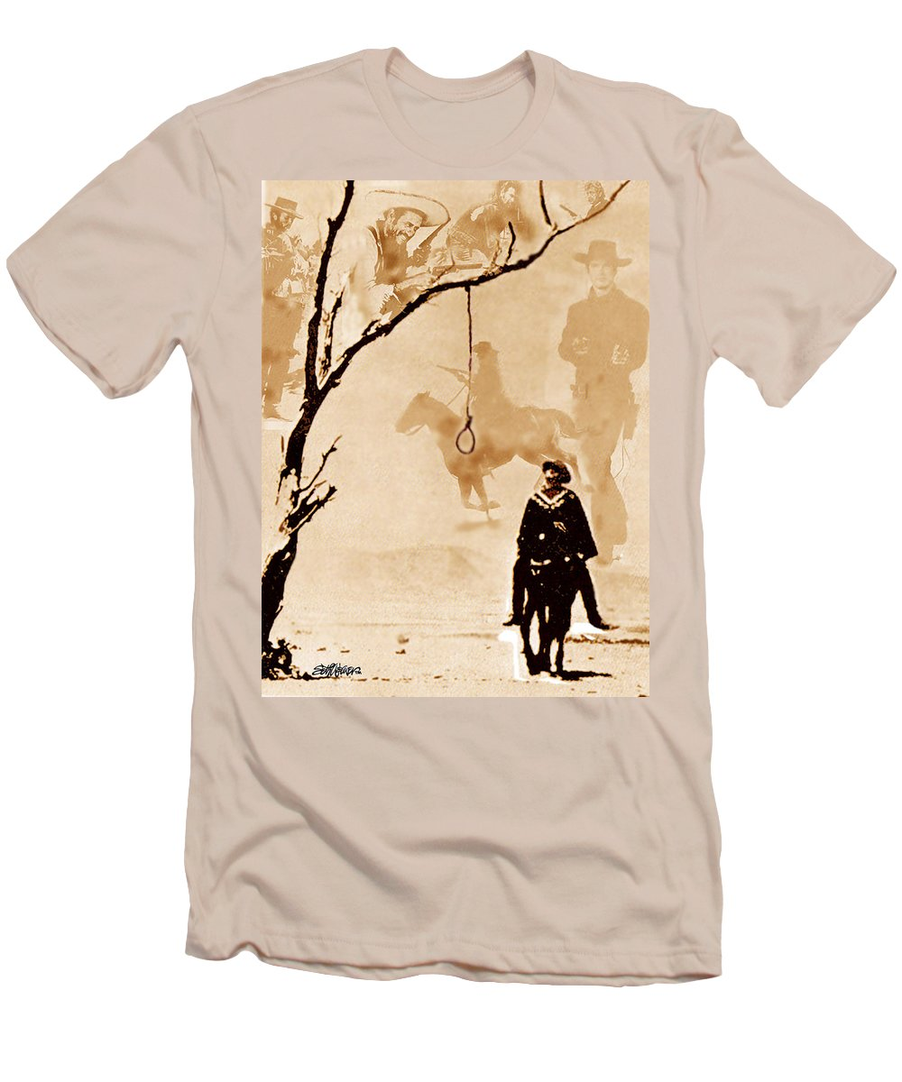 Clint Eastwood Men's T-Shirt (Athletic Fit) featuring the digital art The Hangman's Tree by Seth Weaver