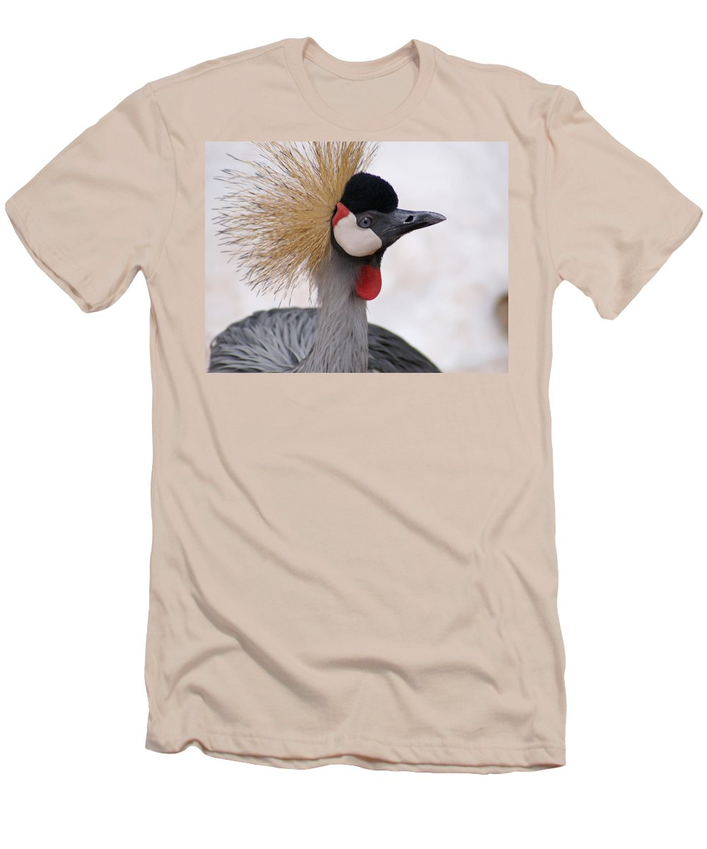 Crane Men's T-Shirt (Athletic Fit) featuring the photograph The Headress Crowned Crane by Heather Coen