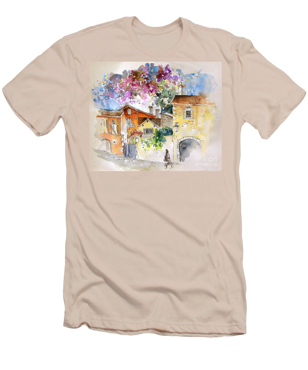 France Paintings Men's T-Shirt (Athletic Fit) featuring the painting The Perigord In France by Miki De Goodaboom