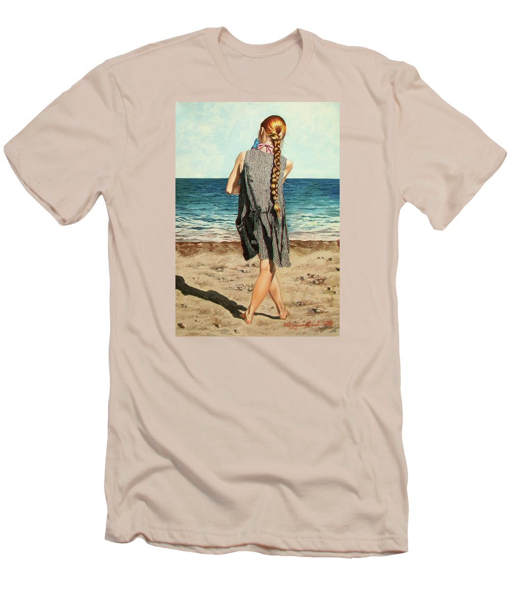 Sea Men's T-Shirt (Athletic Fit) featuring the painting The Secret Beauty - La Belleza Secreta by Rezzan Erguvan-Onal