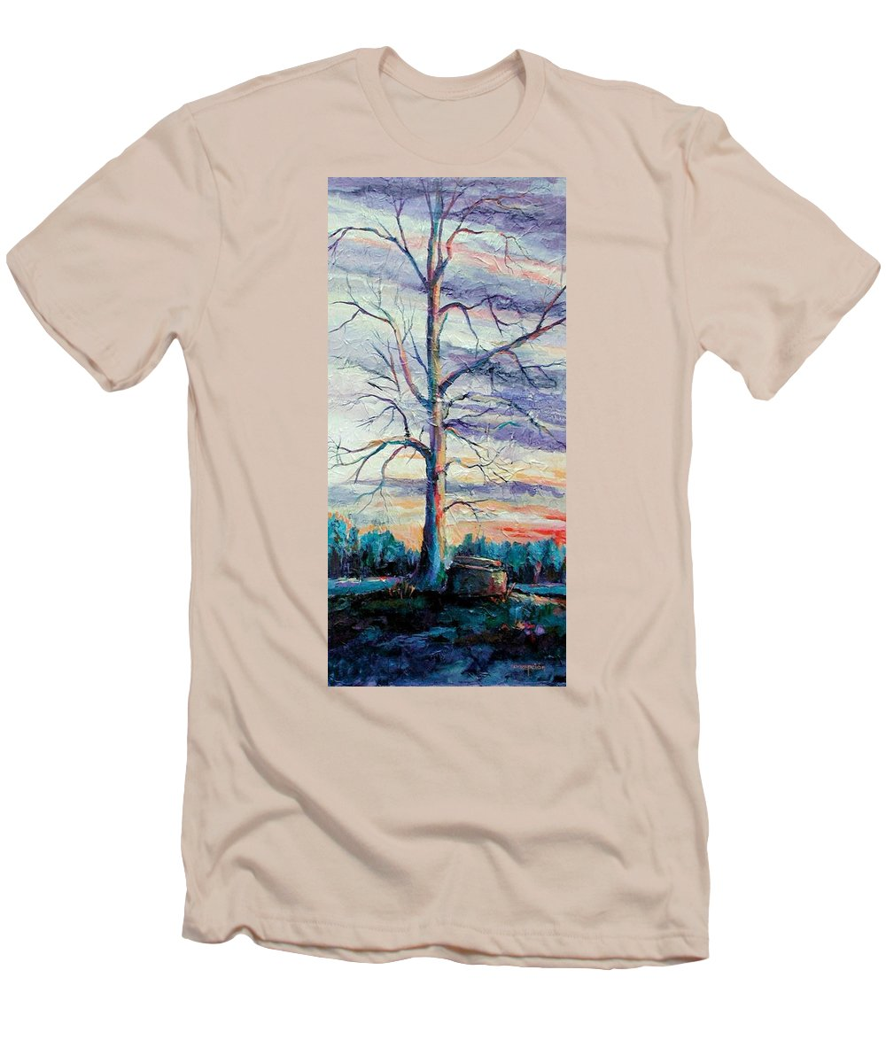 Lone Tree Men's T-Shirt (Athletic Fit) featuring the painting The Sentinel by Ginger Concepcion