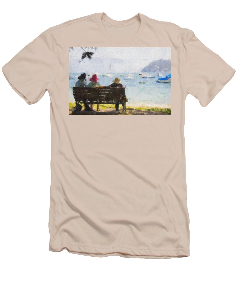 Impressionism Impressionist Water Boats Three Ladies Seat Men's T-Shirt (Athletic Fit) featuring the photograph Three Ladies by Avalon Fine Art Photography