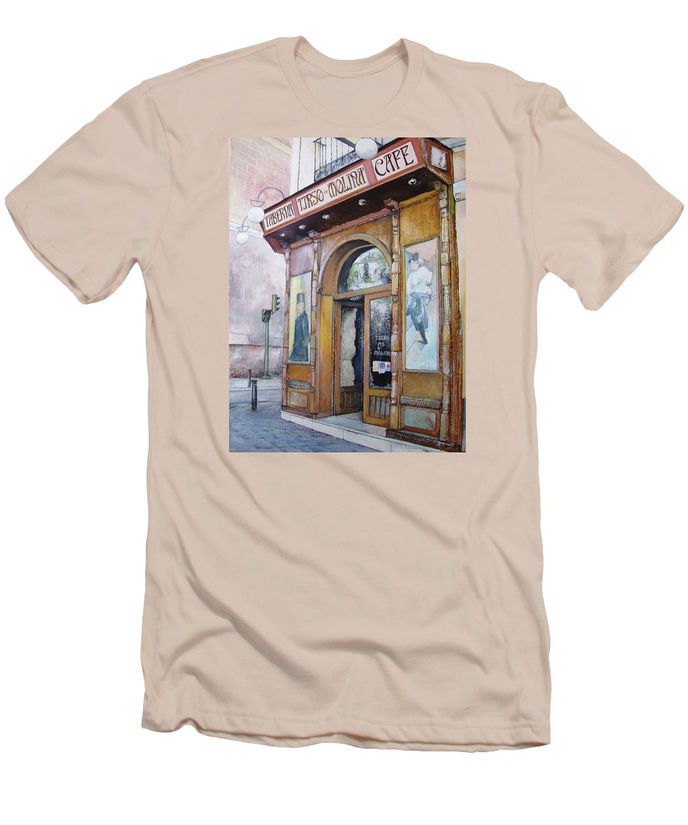 Tirso Men's T-Shirt (Athletic Fit) featuring the painting Tirso De Molina Old Tavern by Tomas Castano