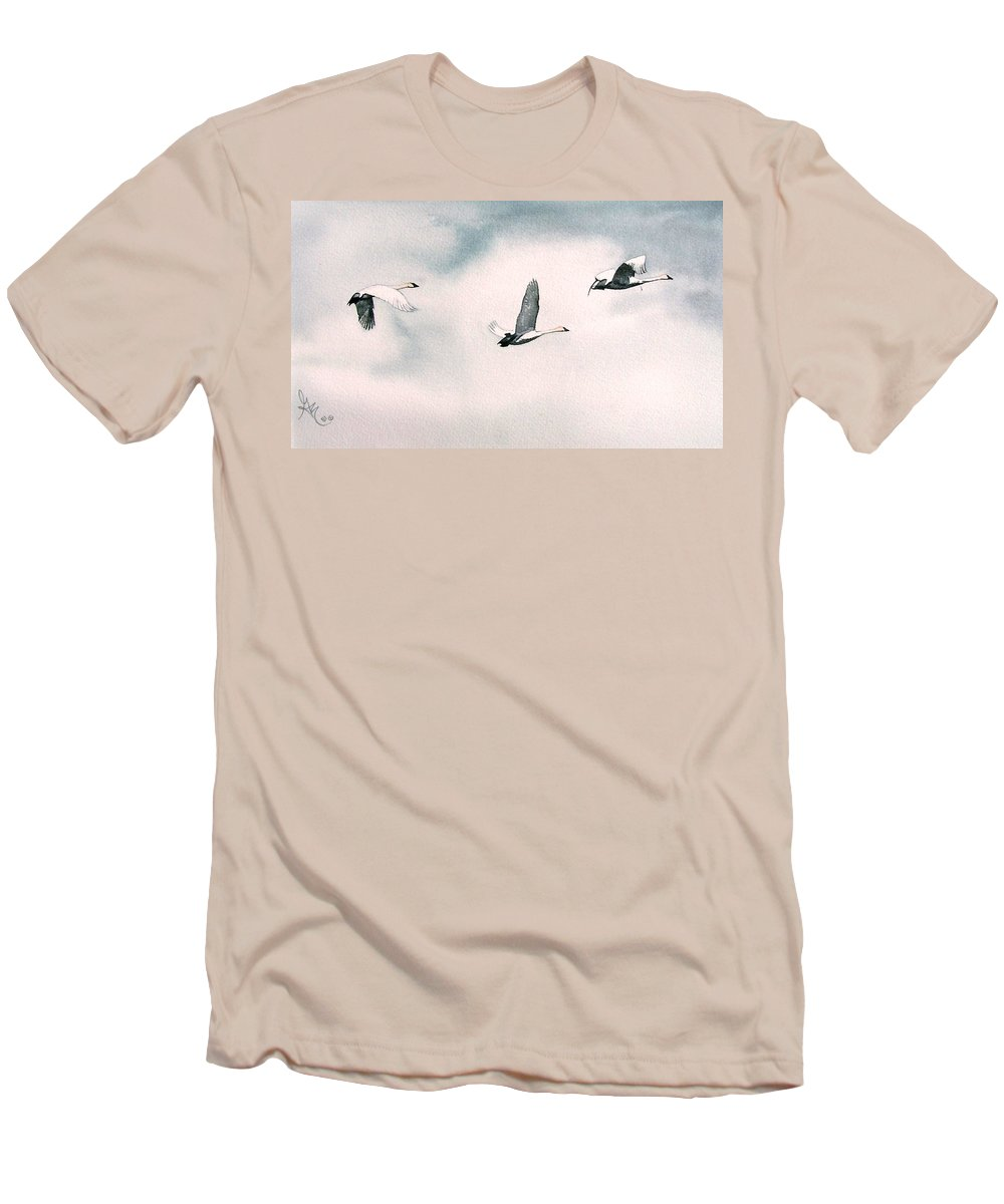 Swans Men's T-Shirt (Athletic Fit) featuring the painting Trumpeters by Gale Cochran-Smith