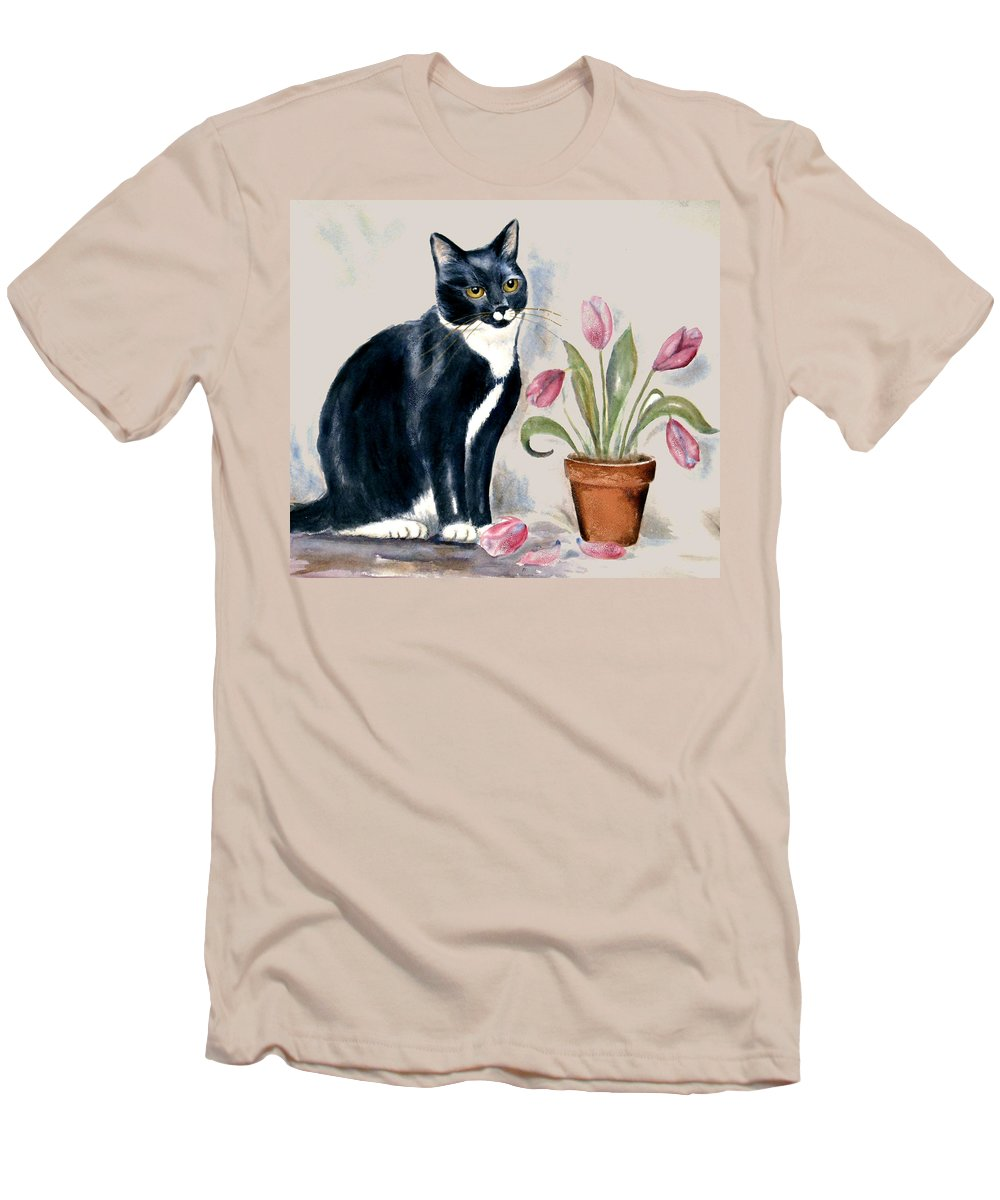Cat Men's T-Shirt (Athletic Fit) featuring the painting Tuxedo Cat Sitting By The Pink Tulips by Frances Gillotti