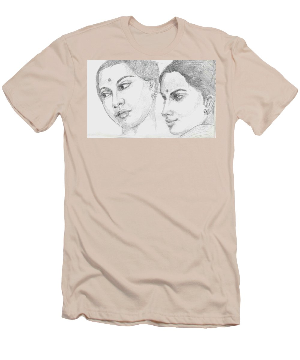 Sketch Of Indian Women Men's T-Shirt (Athletic Fit) featuring the drawing Two Indian Women by Asha Sudhaker Shenoy