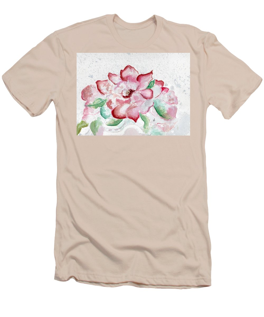 Watercolor Men's T-Shirt (Athletic Fit) featuring the painting Valentine Rose by Brenda Owen