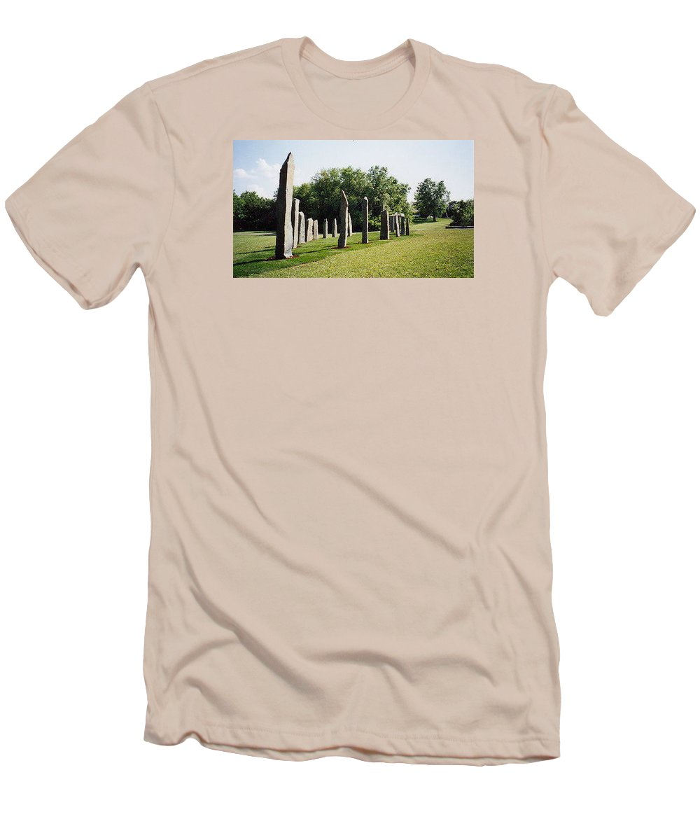 Historic Sculpture From 1999 Men's T-Shirt (Athletic Fit) featuring the sculpture Vinland by Jarle Rosseland