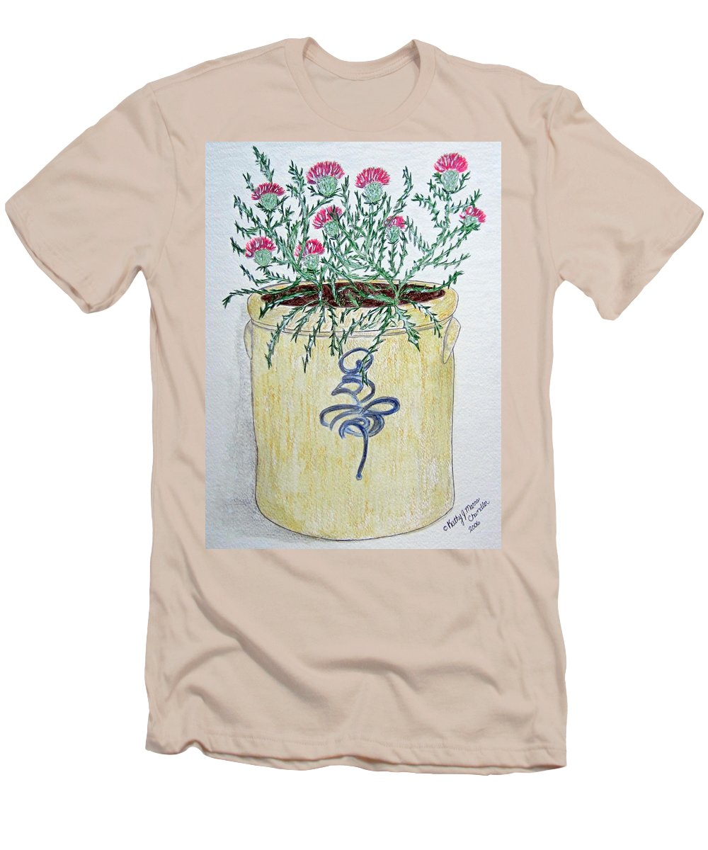 Vintage Men's T-Shirt (Athletic Fit) featuring the painting Vintage Bee Sting Crock And Thistles by Kathy Marrs Chandler