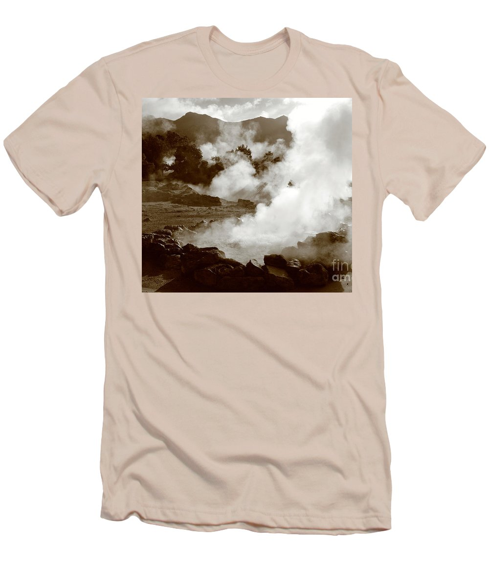Azores Men's T-Shirt (Athletic Fit) featuring the photograph Volcanic Steam by Gaspar Avila