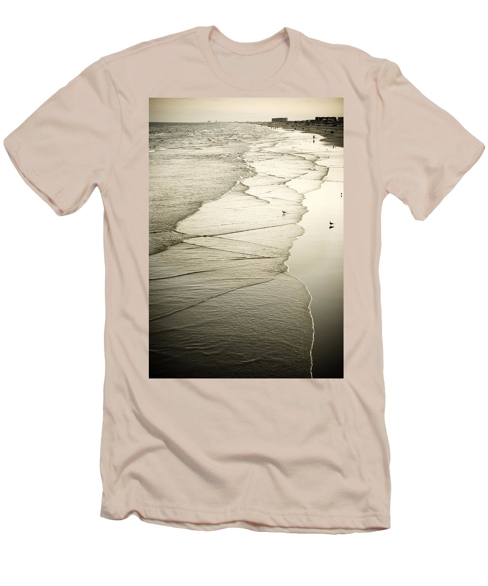 Ocean Men's T-Shirt (Athletic Fit) featuring the photograph Walking Along The Beach At Sunrise by Marilyn Hunt