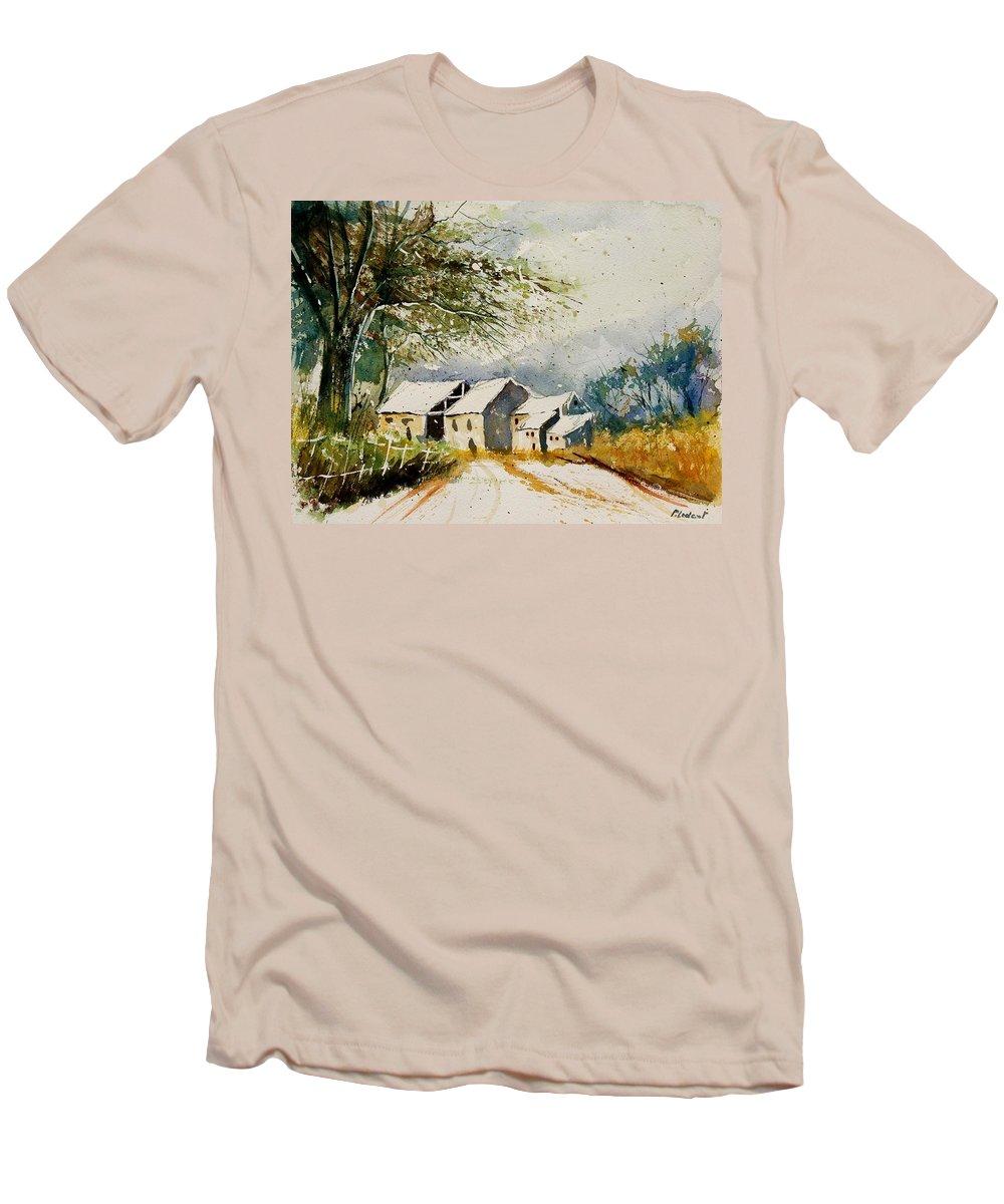 Landscape Men's T-Shirt (Athletic Fit) featuring the painting Watercolor 010708 by Pol Ledent