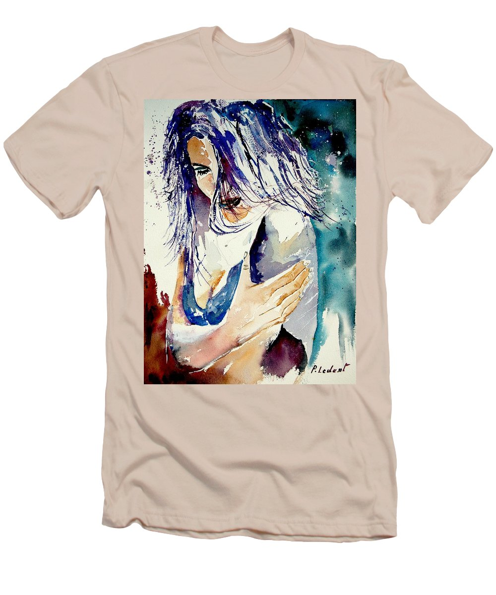 Girl Men's T-Shirt (Athletic Fit) featuring the painting Watercolor 050308 by Pol Ledent