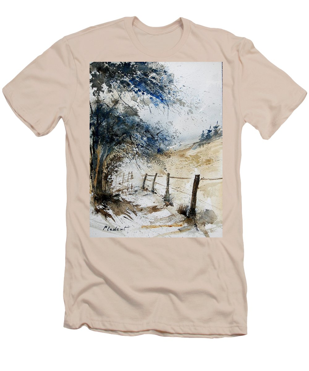 Winter Men's T-Shirt (Athletic Fit) featuring the painting Watercolor 061106 by Pol Ledent
