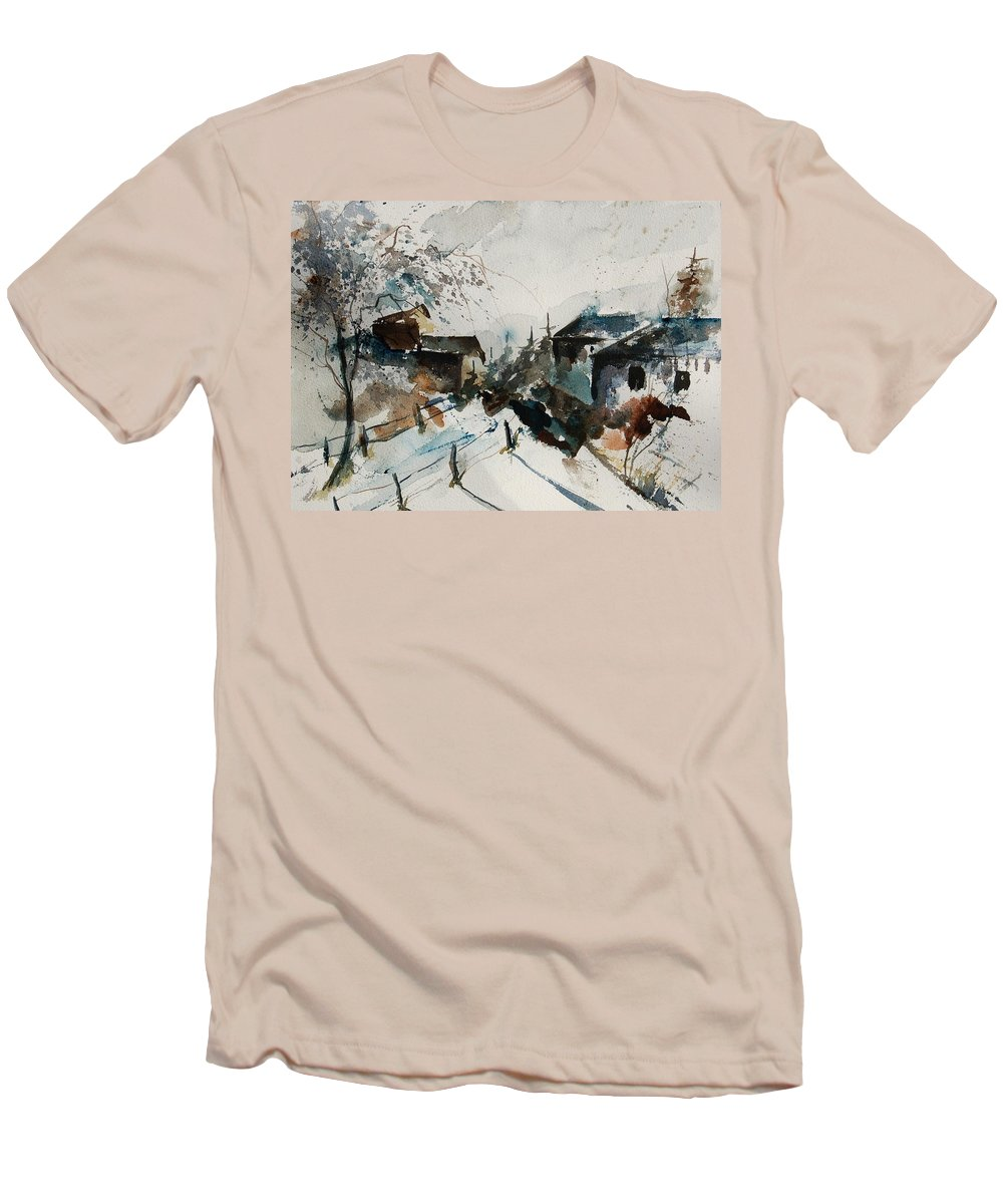 Winter Men's T-Shirt (Athletic Fit) featuring the painting Watercolor 080707 by Pol Ledent