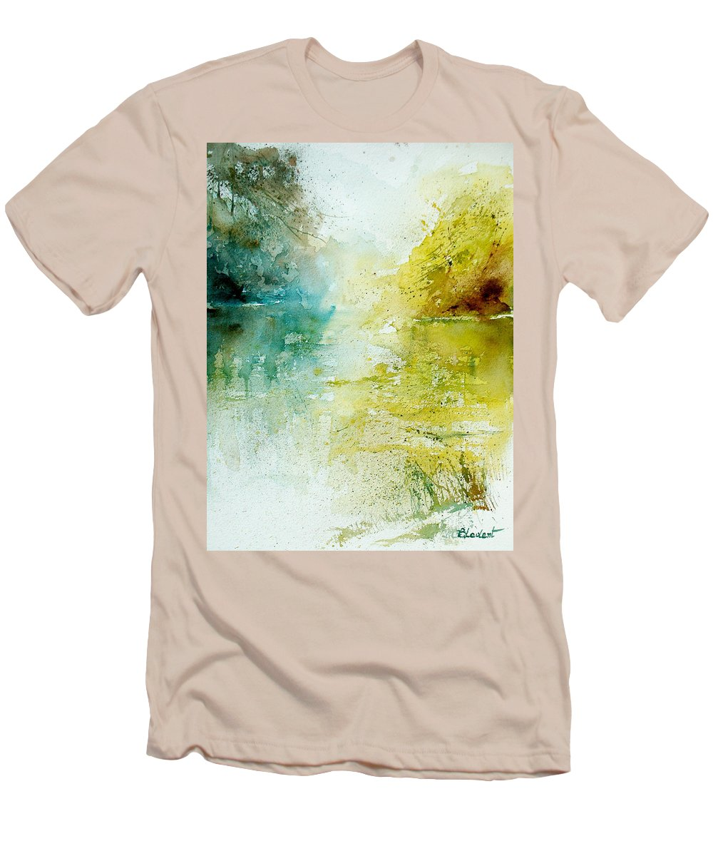 Pond Nature Landscape Men's T-Shirt (Athletic Fit) featuring the painting Watercolor 24465 by Pol Ledent