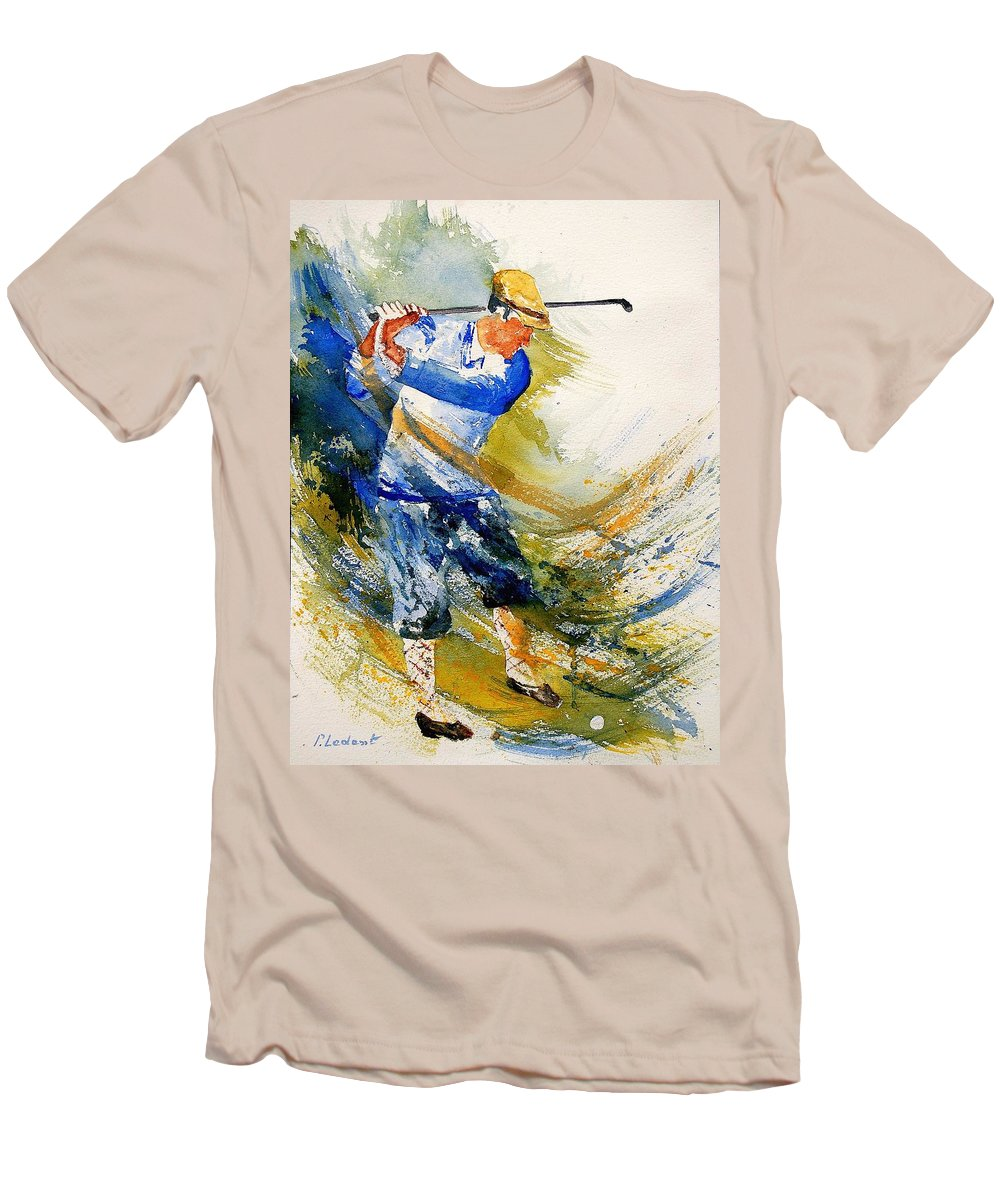Golf Men's T-Shirt (Athletic Fit) featuring the painting Watercolor Golf Player by Pol Ledent