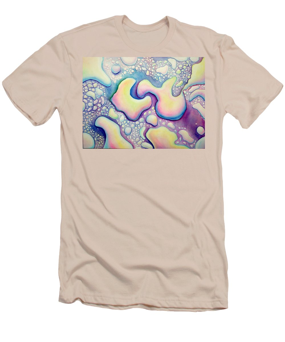 Water Men's T-Shirt (Athletic Fit) featuring the painting Waterdrop Dance by Nancy Mueller