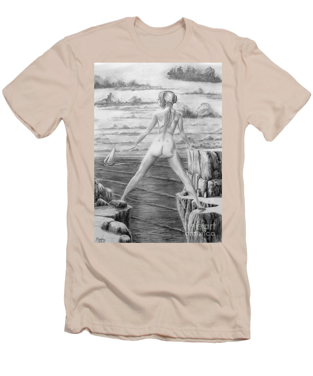 Nude Men's T-Shirt (Athletic Fit) featuring the drawing Wendy From Memory. by Murphy Elliott
