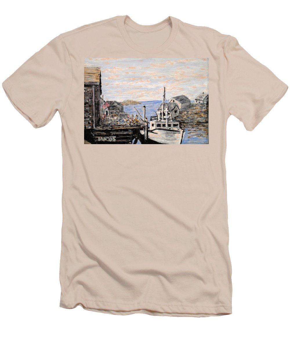 White Men's T-Shirt (Athletic Fit) featuring the painting White Boat In Peggys Cove Nova Scotia by Ian MacDonald