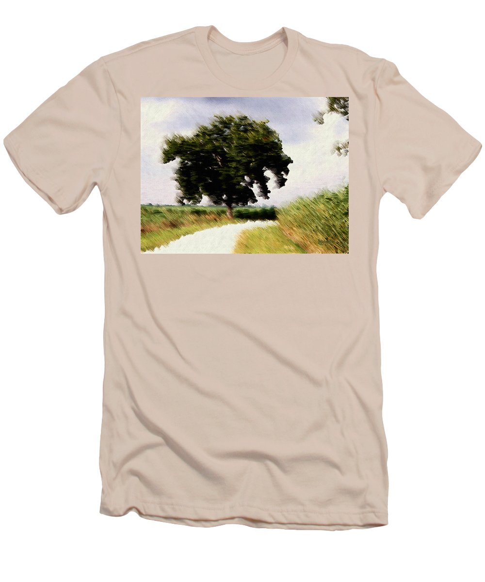 Breeze Men's T-Shirt (Athletic Fit) featuring the digital art Wind Motif Old Dam Road by RC DeWinter