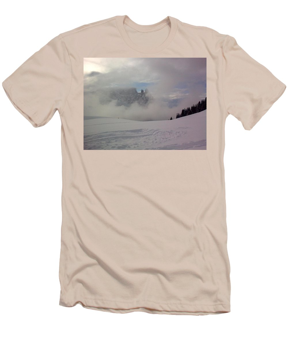 Landscape Men's T-Shirt (Athletic Fit) featuring the photograph Winter In The Dolomite Alps by Valerie Ornstein
