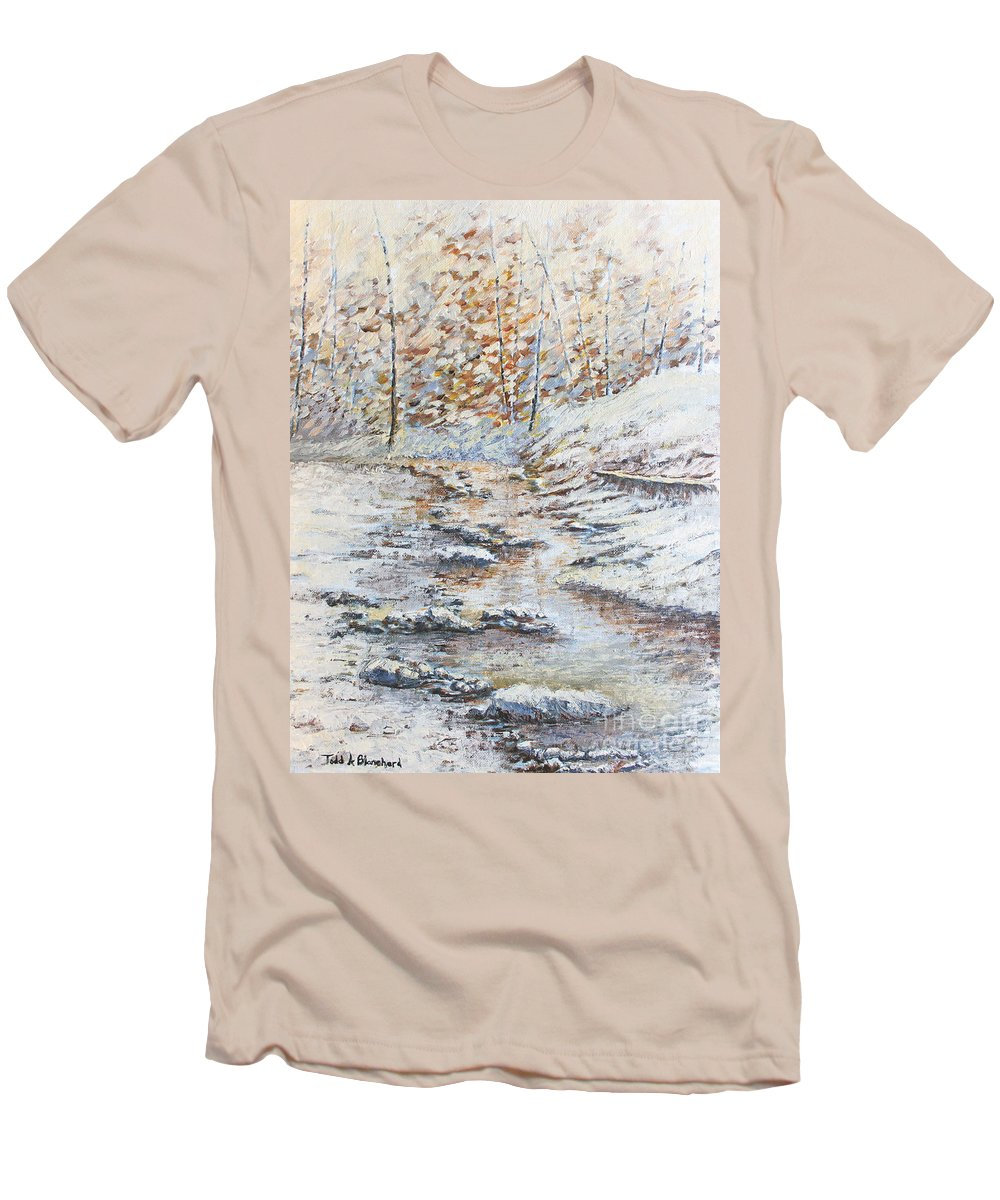 Landscape Men's T-Shirt (Athletic Fit) featuring the painting Winter River by Todd A Blanchard