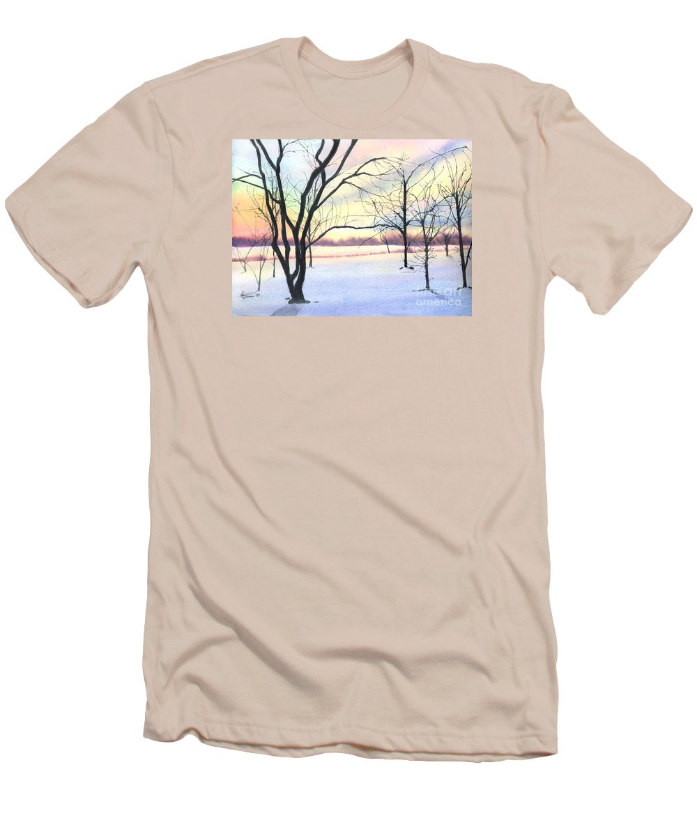 Sunrise Men's T-Shirt (Athletic Fit) featuring the painting Winter Sunrise by Lynn Quinn