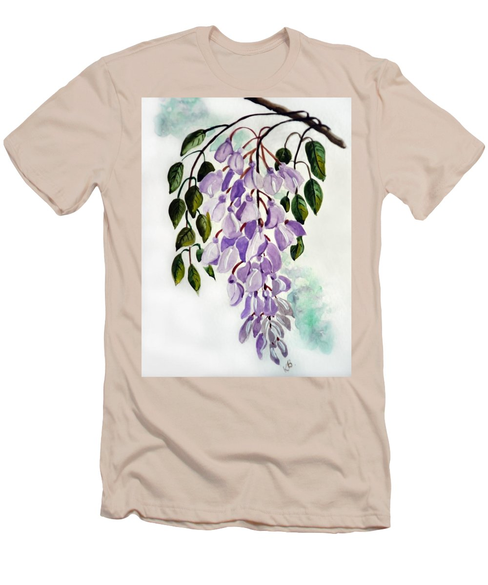 Floral Paintings Flower Paintings Wisteria Paintings Botanical Paintings Flower Purple Paintings Greeting Card Paintings  Men's T-Shirt (Athletic Fit) featuring the painting Wisteria by Karin Dawn Kelshall- Best
