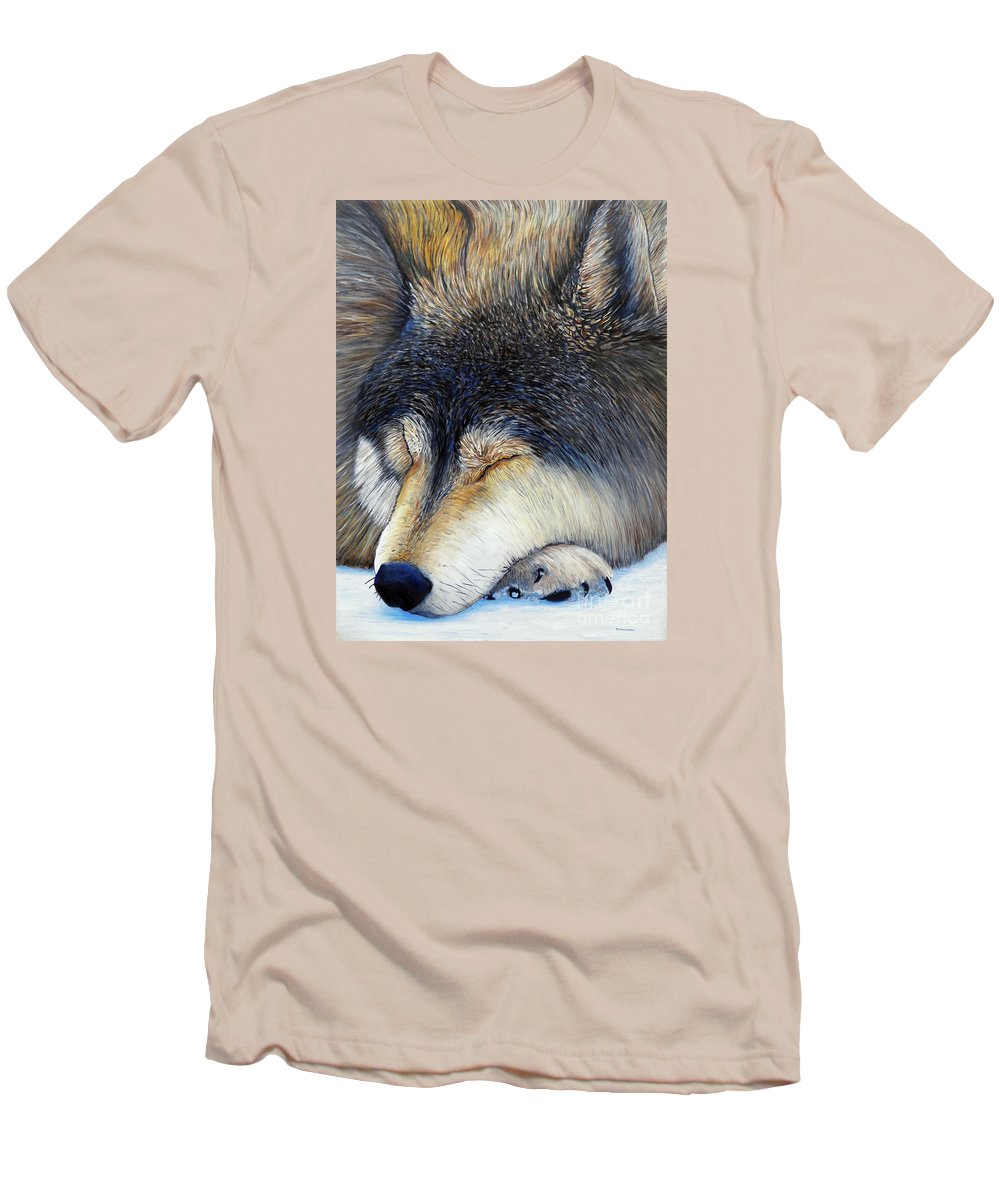 Wolf Men's T-Shirt (Athletic Fit) featuring the painting Wolf Dreams by Brian Commerford