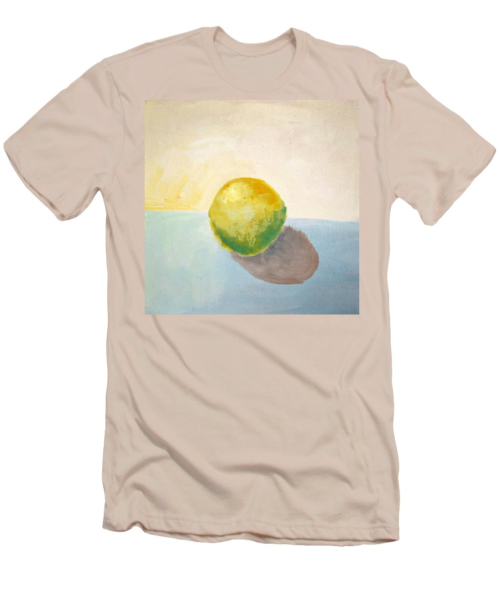 Lemon Men's T-Shirt (Athletic Fit) featuring the painting Yellow Lemon Still Life by Michelle Calkins