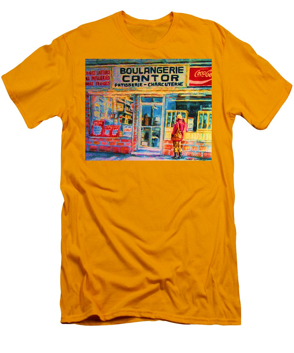 Cantors Men's T-Shirt (Athletic Fit) featuring the painting Cantors Bakery by Carole Spandau