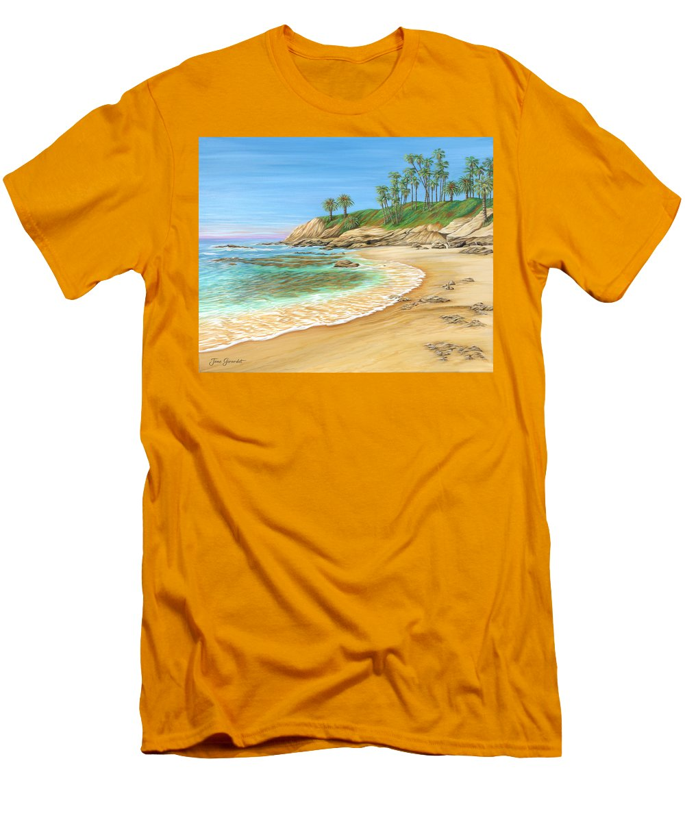 Beach Men's T-Shirt (Athletic Fit) featuring the painting Early Morning Laguna by Jane Girardot