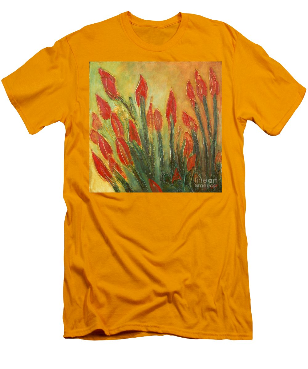 Flower Men's T-Shirt (Athletic Fit) featuring the painting Endangered Species by Tonya Henderson