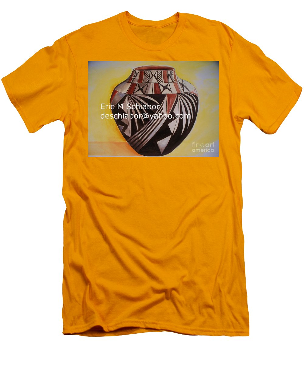 Indian Men's T-Shirt (Athletic Fit) featuring the painting Indian Pottery by Eric Schiabor