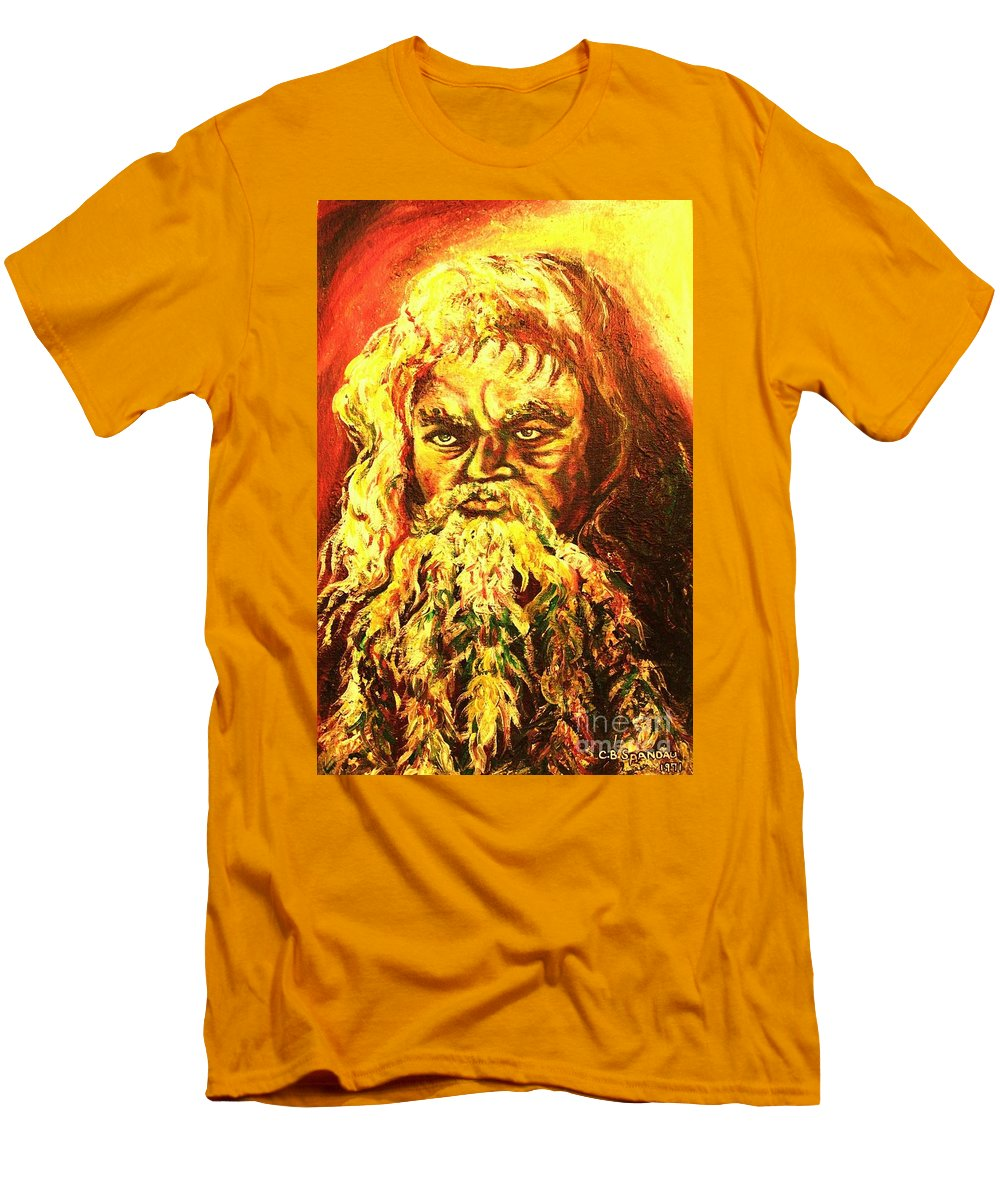 Moses Men's T-Shirt (Athletic Fit) featuring the painting Moses At The Burning Bush by Carole Spandau