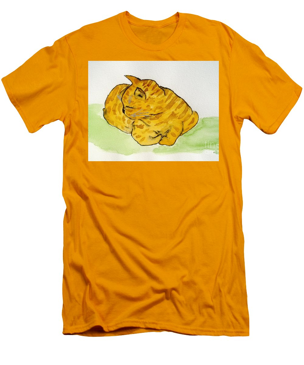 Cat Painting Men's T-Shirt (Athletic Fit) featuring the painting Mr. Yellow by Reina Resto